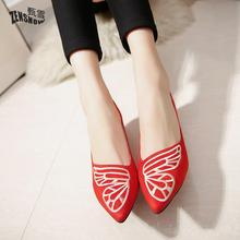 2017 Summer New Style, European And American Fashion Embroidery Butterfly,Shallow Mouth,Single Shoe, Female Shoe(China)