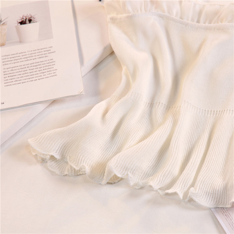 Women Fashion Knitting Patchwork Chiffon Ruffles Neck Cropped Tanks Tops Girls Knitted Tee shirts Camis crop Tops Female 12