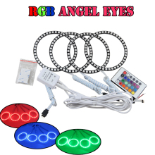 High quality multi color 5050 led angel eyes 80mm+100mm RGB halo ring kits for BYD F0 with remote kit Colorful led angel eyes(China)