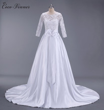C.V Short tailing satin princess lace wedding dress 2017 new long sleeve zipper back bow A line long wedding gown W0137(China)