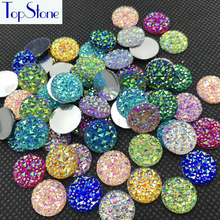Topstone 100pcs Multi Colors AB 10,12,14,16,18mm Round Glitter Faux Resin Rhinestones Acrylic Flatback Decoden Kawaii Cabochons(China)