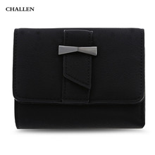 PU Leather Short Wallet For Women And Purses Old Three Fold Hasp Wallet Fashion Solid Color Hasp Money Wallet Coins Bag Card Bag(China)