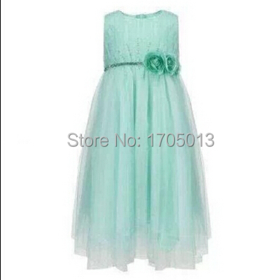 Free shipping green Flower round neck dress foreign trade Princess paillette Ruffled Hemline dresses<br><br>Aliexpress