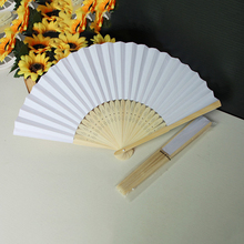 Personalized Ladies Bamboo & Raw Silk Chinese Fan Hollow Out Hand Folding Fans Outdoor Dancing Wedding Party Favor