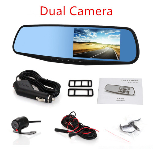 "Car DVR Car Rearview Mirror 4.3"" HD 1080P Camera Parking Car DVR Dual Camera Video Recorder Dual Camera dash cam(China)"