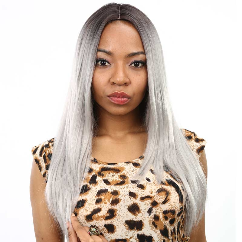 26 Female Synthetic Wigs For Black Women Long Straight Gray Ombre Synthetic Wig Cospaly Wigs For Women Sale Free Shipping<br><br>Aliexpress