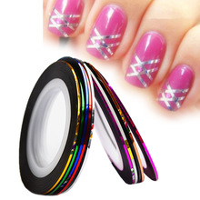 10Colors/lot Laser Striping Tape Nail Art  Line Sticker DIY Decals UV Gel Acrylic Nail Tips Decoration Tool BENC391