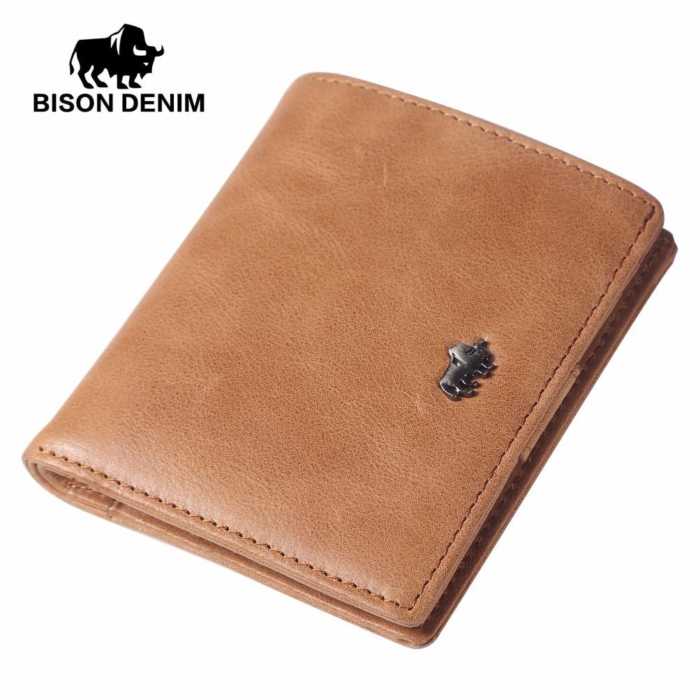 BISON DENIM fashion men wallets genuine leather mini small purse wallet card holder with zipper coin pocket <br>