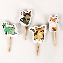 New 24pcs Cartoon Cat 4 Style Cupcake Toppers pick Wedding Children Birthday Party Decoration Cute animal cat Cake flag Supply