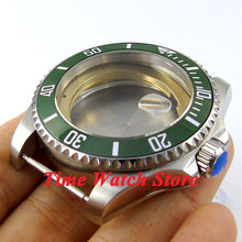 43mm Sapphire glass green ceramic bezel stainless steel Watch Case fit ETA 2824 2836 movement 48
