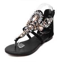 Luxury Rhinestone Flat Sandals T-Strap Beach Sandals Women Genuine Leather Rome shoes woman sandalias mujer two style