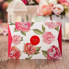 Asian Themed Red Color Rose flower Wedding Invitation Card Laser Cut with ribbon(China)