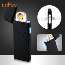 Lufun USB Rechargeable Electronic Plasma Lighter Ultra Thin Double-side Heating Wire Flameless Windproof Pulse Cigarette Lighter