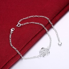 Free Shipping Top quality silver plated Women Anklets Jewelry  Flower with Rhinestone Anklets 925 Silver Jewelry For Gift