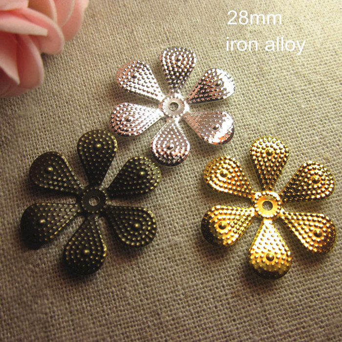 Fashionista 100 pcs Metal Stamping Flower Bead Caps 28mm Gold-color,Silver-color,Steel,Bronze,DIY Crafts & Jewelry Supplies(China (Mainland))