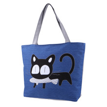 THINKTHENDO Casual Women Handbag Ladies Canvas Shopping Tote Bag Cat Pattern Shoulder Bag(China)