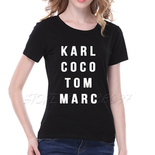 Tom Marc Print T Shirt Femmes Black White Large Size Loose Cotton Women T-shirt Casual Camisetas Mujer S-2XL