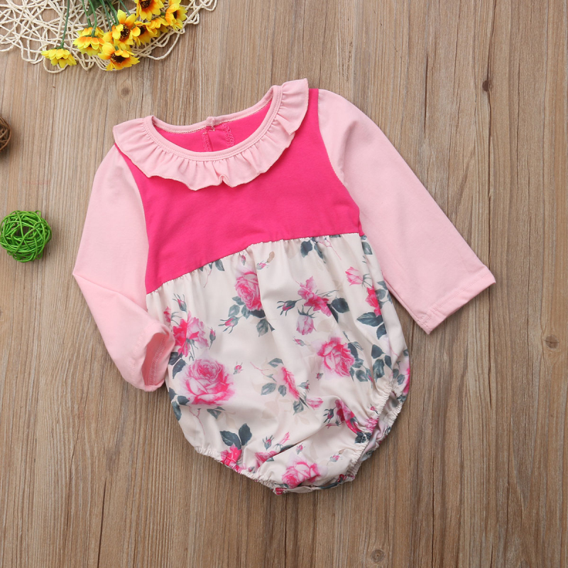 Newborn Infant Baby Girl Flower Romper Peter Pan Neck Jumpsuit Autumn Cute Outfit Sunsuit Clothes Age 0-24M