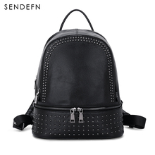Sendefn Genuine Leather Backpack Large Capacity Rivet Black Shoulder Bag Women Casual Backpack Teenage Girls School Travel Bags