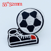 10PCS NEW 55*52 mm Football design Iron On Sewing Embroidered Patches For Clothes Badge Garment Motif Appliques DIY Accessory
