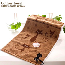 Embroidery Line Towel cotton Soft Table Napkins Free shipping to bear or endure Cartoon New Arrival cat hook Kitchen Towels(China)