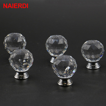 10PCS NAIERDI 20-30mm Crystal Ball Design Crystal Glass Knobs Cupboard Drawer Pull Kitchen Cabinet Wardrobe Handles Hardware