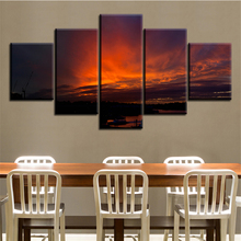 5 pc Set sunset-red NO FRAME Oil Painting Canvas Prints Wall Art Pictures For Living Room Decorations(China)