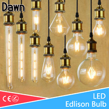Lampada LED Filament Glass Light Edison Blub Lamps 220V LED Edison chandelier E14 E27 240V Vintage Led Bulb 2W 4W 6W 8W 12W(China)