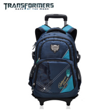 Transformers cartoon trolley/wheels school/books/children/kids  bag rolling  backpack  detachable  for  boys grade/class 2-5