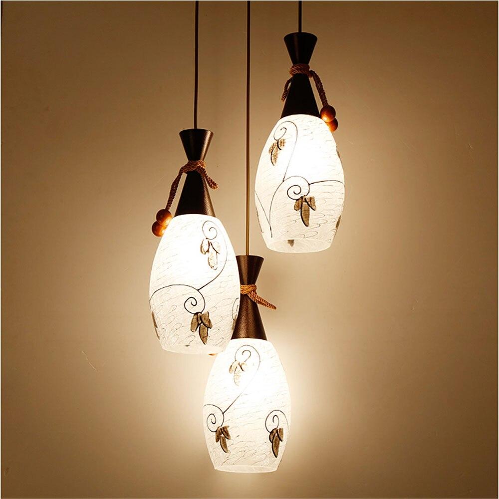 HGhomeart Modern Dining Room 3 Head Pendant Lamp Luminaria 110V-220V E27 Led Modern Lighting Glass Pendant Lamps Kitchen Light<br>