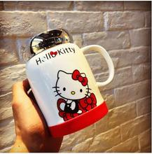 Very very Beautiful Cartoon Bownot Hello Kitty Bone Ceramic 500ML Coffee Milk Tea Mug Cup The Lid Can Be Use As Mirror