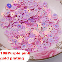 2015 Hot Sale 3000Pcs 6MM Purple Pink Round Gold Plating Loose Sequins Sewing PVC  DIY Sequin Sewing Materials Paillette Side