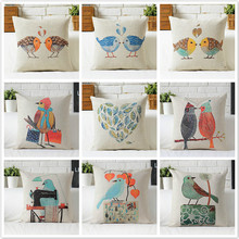 Free shipping/contemporary and contracted cute cartoon birds cotton pillowcase car sofa cushion for leaning on of 43 * 43 No Inn