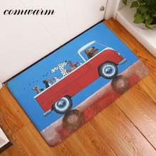 comwarm Dust Proof Welcome Home Hallway Door Mats Red Bus Funny Dog Diver Pattern Carpets Waterproof Living Room Rug Home Decor(China)