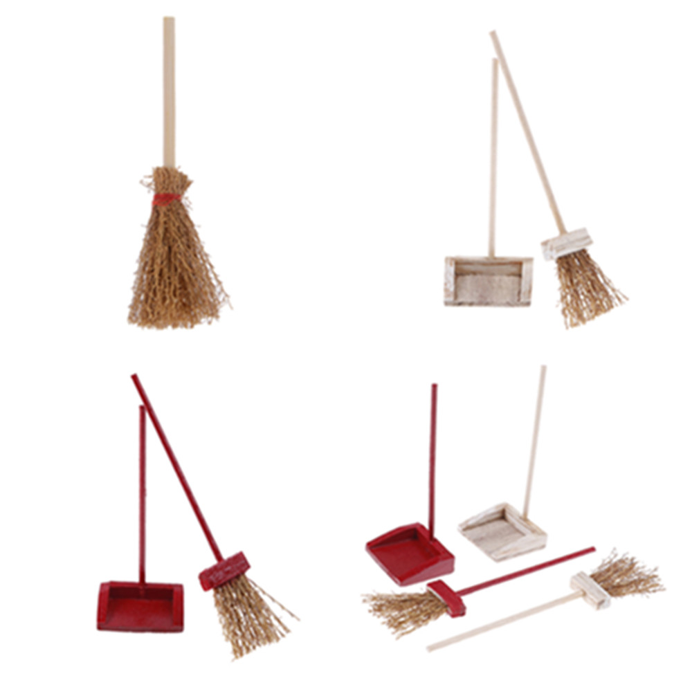 112  Dollhouse Miniature Straw Brooms wWooden Handles Witch Kitchen Garden Miniature Doll House Accessory Kit,Witches Broomstick Miniature