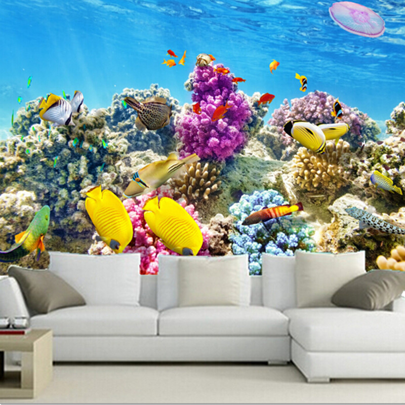 The custom 3D murals,corals Fish Underwater world Animals Nature wallpapers , living room sofa TV wall bedroom wall paper<br>