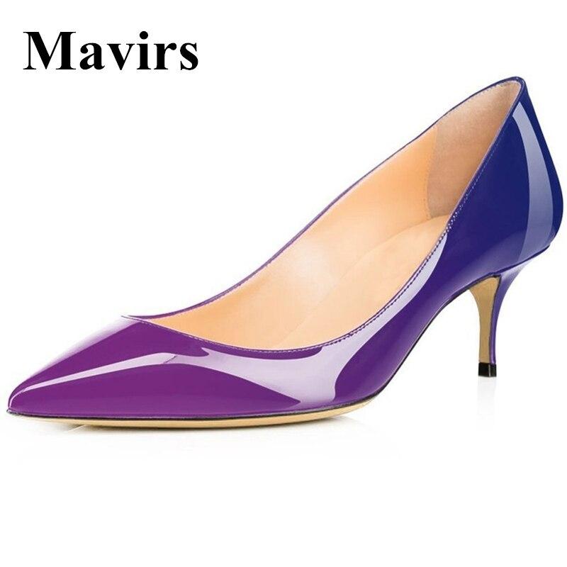 MAVIRS 2018 Pointed Toe Patent 6.5 CM Stilettos Kitten Heels Gradient Color Women Pumps Bride Wedding Shoes US Size 5 - 15<br>