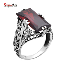 Szjinao 925 Sterling Silver Jewelry Manufacturers Victoria Red Cubic Zirconia 925 Sterling Silver Rings for Women Wedding Ring