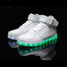 Buy 2017 women lights led luminous shoes high top glowing casual shoes new simulation sole charge men adults neon basket for $20.99 in AliExpress store