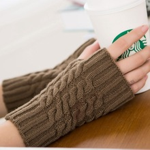 Women Winter Fingerless Gloves Long Thick Warm Knitted Gloves Womens Mittens Black Fingerless Gloves Guantes Mujer Guanti