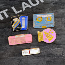 Cartoon Brooch Power Pizza ball VHS Tape Recorder Enamel pins Fashion Metal Backpack Jacket Lapel Pin Badge Jewelry Gift