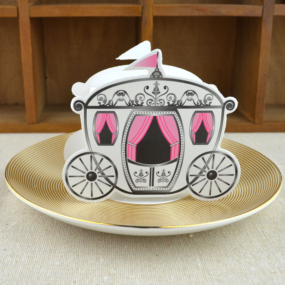 50pcs/lot Wedding Party Paper Favors Box Cinderella Carriage Pumpkin Coach Carriage Fold Candy Gift Boxes Wedding Decor(China (Mainland))