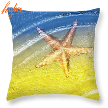 Beach Style Marine Cushion Yellow Starfish Blue Ocean Cotton Linen Cushion Car Sofa Home Decorative Throw Pillow Florida Breeze(China)