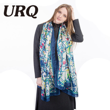 soft bright silk Scarf for Woman print striped Chinese style Flower silk Shawls hijab Sping Women Long 2017 new brand(China)