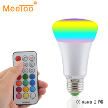E27 RGBW LED Bulb 10W AC 85-265V RGB and White Led Lamp with IR Timing Remote Control Multiple Colour Led RGB Lamp