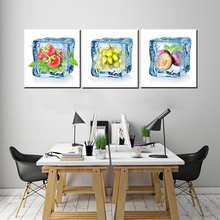 high quality 3 pieces fruit in ice cube canvas painting printed on canvas for dinning room decor craft home decoration cafe pub(China)