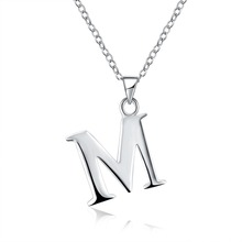 FWORLD Fashion english name initials pendants for girls classic silver color Letter clavicle necklace mean a better life NP-044(China)