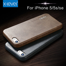 X-Level case for iphone 5s seLeather Hard Back Case Slim Fit Protective Cover Case for iPhone 5 5S SE(China)