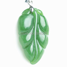 Genuine high-grade and nephrite jade pendant Woman She leaves pendant female models spinach green jade pendant(China)