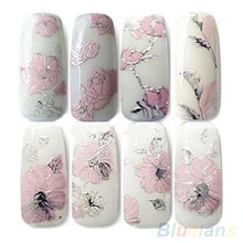 2016 Top Quality 3D Nail Stickers Embossed Pink Flowers Design Nail Art Decal Tips Stickers Sheet Manicure 1ORG 2OA7 8APX(China)